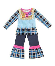 Jelly the Pug Blue & Pink Poppin' Plaid Abigail Tunic & Pants-Girls 5,6,10 #JellythePug #Everyday