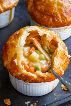 Creamy Chicken Pot Pie - Poultry and Eggs Recipes Creamy Chicken Pot Pie Creamy Chicken Pot Pie – Rich, flavorful with a golden brown crispy crust, these individual chicken pot pies are seriously comforting. Homemade Chicken Pot Pie, Best Chicken Recipes, Chicken Potpie Recipes, Individual Chicken Pot Pies, Puff Pastry Recipes, Puff Pastry Chicken Pot Pie Recipe, Chicken Pot Pie Recipe With Heavy Cream, Creamy Chicken Pot Pie Recipe, Chicken Pot Pie Crust