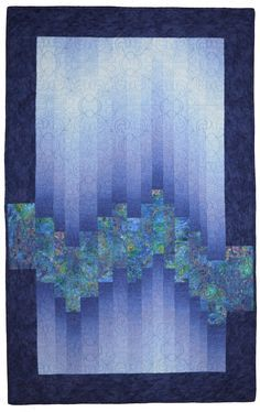 ombre quilts - nothing more than the picture, but love the look. Love how design extends past border Bargello Quilt Patterns, Bargello Quilts, Modern Quilt Patterns, Jellyroll Quilts, Quilt Block Patterns, Batik Quilts, Strip Quilts, Easy Quilts, Mini Quilts