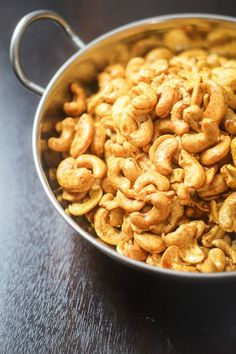 Curry Roasted Cashews - the perfect last minute snack for parties and get-togethers.