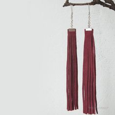 Fashion urban long fringe earrings. Dusty rose recycled leather. fall- winter colors. Ready to ship.