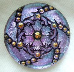 Czech Glass Button - LG Aqua & Lilac Mirror Back Lacy Floral Button w/ Gold Accents