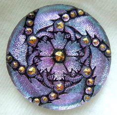Czech Glass Button - LG Aqua Lilac Mirror Back Lacy Floral Button w/ Gold Accents