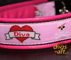 dogsart DIVA Martingale Chain Leather Collar  by dogsartcollars, $32.00