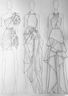 zeichnen – Keep up with the times. Dress Design Drawing, Dress Design Sketches, Fashion Design Sketchbook, Fashion Design Portfolio, Fashion Design Drawings, Drawing Sketches, Fashion Figure Drawing, Fashion Drawing Dresses, Fashion Illustration Dresses