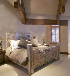 Bedroom with trusses and a King Bed- American Western Stock Yard Fence Inspired - Handmade Bedroom Furniture, Custom Furniture, Furniture Layout, Furniture Ideas, Home Bedroom, Bedroom Decor, Master Bedroom, Rustic Bedding, Western Decor