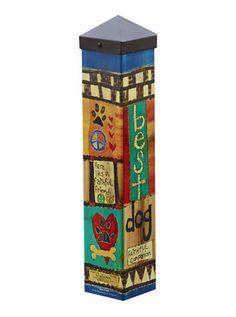 Studio M Art Pole Dog Memorial - Carolina Creations Peace Pole, Garden Poles, Pole Art, Painted Sticks, Dog Memorial, Outdoor Art, Outdoor Life, Pet Memorials, Yard Art