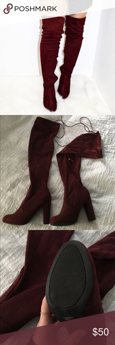 """Over the knee boots Gorgeous burgundy boots!!! NWOT. Size 7 1/2, fits comfortably even with thick socks. Heel height is 4"""", length of boot from ground is 28"""". Top of opening has strings for customized fit. Velvety/suede feel. ALL ITEMS come from a smoke free, meow friendly home Shoes Over the Knee Boots"""