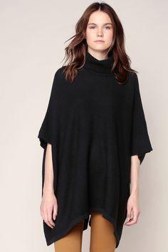 Poncho noir tricoté Billi - Pieces