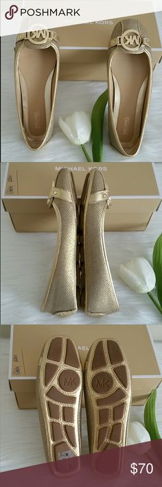 LOWEST .NEW Authentic Michael Kors  Flat Shoes. Beautiful brand new michael kors Fulton flat shoes . Metallic Fabric.  Size 6.5 Smoke and pet free home. Fast shipping + extra gift. MICHAEL Michael Kors Shoes Flats & Loafers
