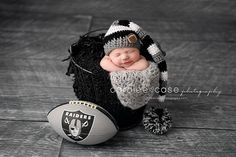 Future Raiders Fan!!!!  Caralee Case Photography.  Newborn Infant Baby Photographer.  #newbornphotography #caraleecasephotography #babies  #raiders