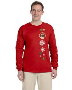 Mastiff Red Snowflakes Long Sleeve Red Unisex Tshirt Adult Medium SC9425-LS-RED-M