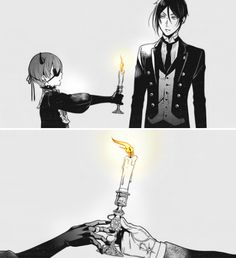 "It would've been so funny if there was a bubble thing and Ciel said, ""Here. Shove this up your fuckin ass. Black Butler Manga, Black Butler Meme, Black Butler Sebastian, Butler Anime, Ciel Phantomhive, Devilman Crybaby, Lolis Anime, Desenhos Love, Black Butler Characters"
