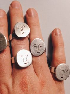A moon face to wear day or night! Hand made in Sterling Silver.Each face has a . - A moon face to wear day or night! Hand made in Sterling Silver.Each face has a different character - Jewlery, Silver Jewelry, Gold Jewellery, Hair Jewelry, Face Jewellery, Fine Jewelry, Jewelry Chest, Moon Jewelry, Cheap Jewelry