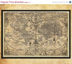 Antique style wall map of the world Large Fine Art archival print - vintage world wall map 002