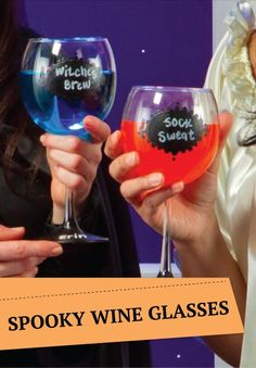 Halloween is the perfect time to break out the DIY chalkboard wine glasses -- SPOOKY!