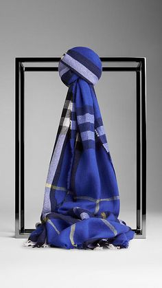 Burberry Marine Blue Check Wool Cashmere Crinkled Scarf - Lightweight extra fine Merino wool and cashmere crinkled scarf in check. Fringing at both ends. Discover the scarves collection at Burberry.com