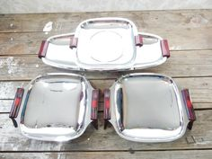 Chrome Bakelite Serving Tray 4 piece lot, Glo hill Gourmates, 1950's, Kromex style, wedding buffet table, mid century modern, mcm