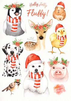 The set of high quality hand painted watercolor animals and Christmas leaf images. A pig, dalmatian, penguin, polar bear, reindeer and other animal Christmas Drawing, Christmas Art, Watercolor Christmas, Holly Christmas, Christmas Leaves, Christmas Animals, Illustration Noel, Christmas Illustration, Watercolor Animals