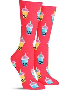 You just can't get enough of those tasty, sweet pearls! Women who love bubble tea, or boba tea, will adore these cute drink socks, which feature the delicious treat in a variety of colorful flavors! Do you prefer the tapioca pearls that pop or the chewy ones? Or do you not like to eat them at all? No worries! The customization is part of the boba fun! Now, would you like these socks to go? Crew length Fits womens shoe size 5-10 Contents: 51% Cotton, 18% Polyester, 29% Nylon, 2% Spandex...
