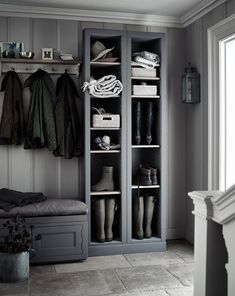 Grey boot room with open shelves, pegs for coats and a bench for perching on. Grey boot room with open shelves, pegs for coats and a bench for perching on.,~Interior~ Grey boot room with. Boot Room Utility, Small Utility Room, Hallway Storage, Boot Room Storage, Ikea Utility Room Storage, Storage Shelves, Hall Storage Ideas, Cloakroom Storage, Cloakroom Ideas