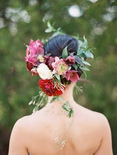 Bridal floral crown by Gro Designs Blog / http://www.deerpearlflowers.com/wedding-hairstyles-with-flower-crowns/2/