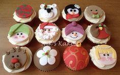 Christmas Character Cupcake Collection - Polar Bear, Reindeer, santa, Angel, Gingerbread Man, and Snowman