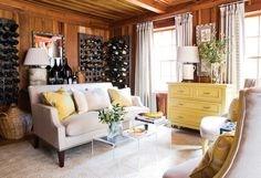 LOVE this room...everything about it.  Check out the cool wine racks