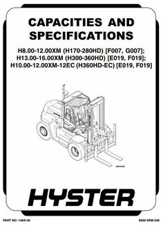 Hyster Electric Forklift Truck Type B114: E20B, E20BH