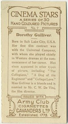 "Dorothy Gulliver 1934 Cavanders ""Cinema Stars"" Tobacco Cards, Hand-Coloured"