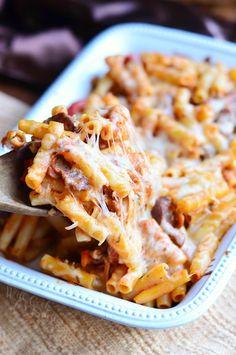 Italian Cheesesteak Baked Ziti   from willcookforsmiles.com #pasta #comfortfood #easydinner