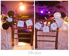 Mr. and Mrs. chairs with bride and groom  hats