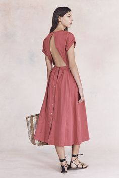 Madewell Spring 2016 - Button-Back Dress, The Corsica Tote, Lace-Up Gladiator Sandals