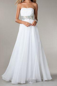 Strapless Ruffled White Chiffon Beaded Backless Floor Length Prom Dresses 2014 New Arrival