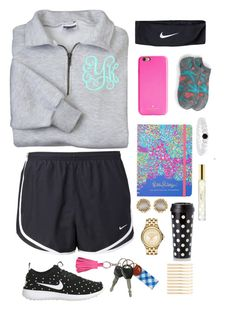 """""""Untitled #43"""" by emma-lindsey ❤ liked on Polyvore featuring NIKE, Marc Jacobs, Kendra Scott, MICHAEL Michael Kors, ILI, Kate Spade, L. Erickson and J.Crew"""
