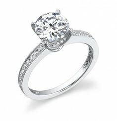 Beaded Milgrain Diamond Engagement Ring