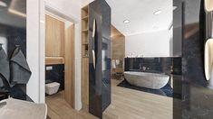 Dizajn kúpelne v kombinácii dreva a čierneho mramoru #blackbathroom #luxurybathroom #interiordesign Princess Style, Bratislava, Bathtub, Houses, Bathroom, Modern, Design, Standing Bath, Homes