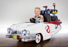 Little Ghostbuster gets a sweet Ecto-1 push car