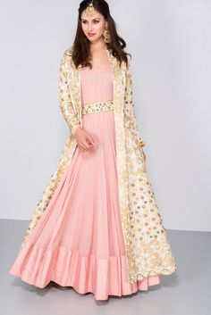 Wedding Dress Gown, Rent MAHIMA MAHAJAN Ivory and gold floral embroidered jacket with pink anarkali gown at Flyrobe Indian Gowns, Pakistani Dresses, Indian Wear, Indian Designer Outfits, Indian Outfits, Designer Dresses, Moda India, Gown With Jacket, Kurti With Jacket