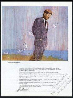 1964 JFK John F Kennedy portrait John Hancock Life Insurance vintage print ad