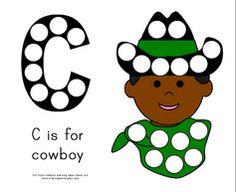 C is for cowboy magnet page.