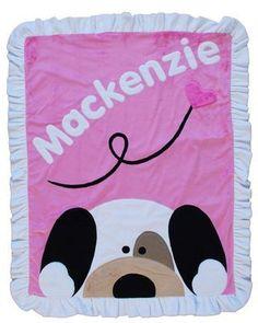 Personalized Peekaboo Puppy Crib Blanket