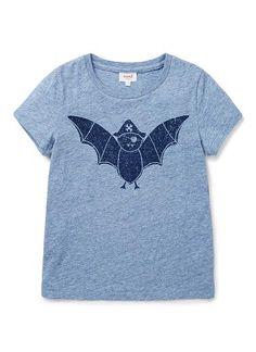 100% Cotton Jersey short sleeve tee featuring tonal bat print.