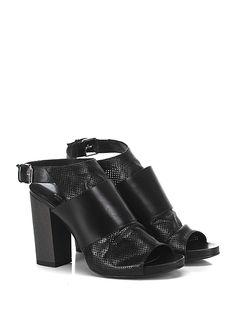 Miss Martina - Scarpa con tacco - Donna - Scarpa con tacco in pelle e pelle forata con cinturino alla caviglia e suola in cuoio. Tacco 105, platform 10 con battuta 95. - NERO - € 179.00