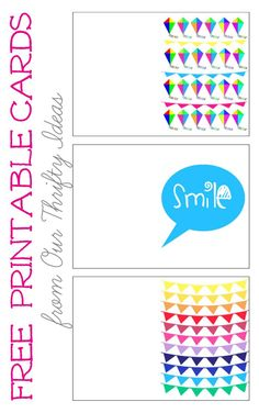 """The cutest free printables. Print a kite, banner and """"smile"""" greeting card to give this spring/summer."""