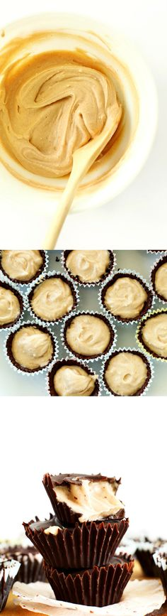 AMAZING 5-ingredient Vegan Peanut Butter Mousse Cups! Crunchy dark chocolate shell, fluffy PB mousse center! Surprisingly healthy dessert and SO easy.