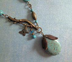 Vintaj Inspired Turquoise Beaded Antiqued Brass by beadlady5, $45.00
