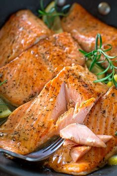 Flaky salmon cooked to perfection in rich Lemon Rosemary sauce. Ready in 15 minu. CLICK Image for full details Flaky salmon cooked to perfection in rich Lemon Rosemary sauce. Ready in 15 minutes!COM [ad_. Salmon Recipes, Fish Recipes, Seafood Recipes, Dinner Recipes, Cooking Recipes, Healthy Recipes, Delicious Recipes, Smoked Meat Recipes, Simple Recipes