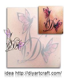 #butterflies #tattoo drop cap acronym DA Unique Tattoo Designs, Unique Tattoos, Drop Cap, Butterflies, Design Inspiration, Ink, Artist, Butterfly, Amen