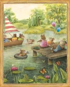 Susan Wheeler Watercolor Sunny Pond Mice Swimming Fabric Panel 36 x 44 Inches Susan Wheeler, Bunny Art, Cute Bunny, Beatrix Potter, Woodland Creatures, Children's Book Illustration, Whimsical Art, Cute Art, Cute Pictures